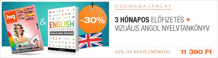 Negyedéves HVG-előfizetés + Vizuális angol nyelvtan című HVG-könyv kép